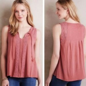 MEADOW RUE | Anthro Dusty Rose Tie Neck Lace Top